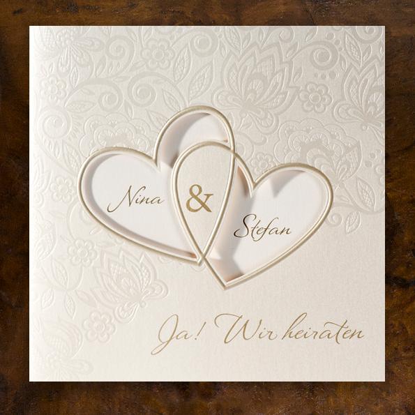 Nice Hochzeits Einladungen #4: Elegante Hochzeitseinladungen Mit Zwei Herzen