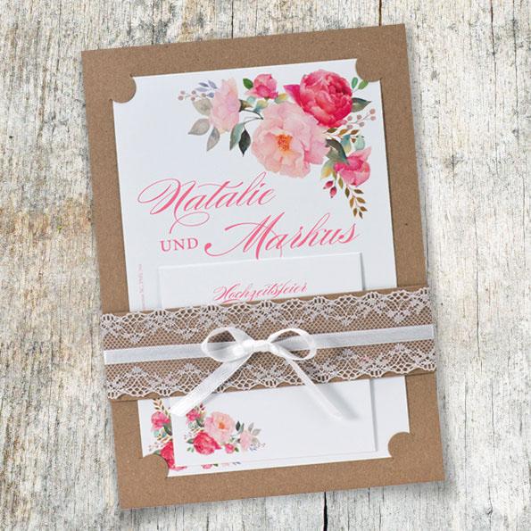 Einladungskarten Zur. Hochzeit Mit Blumen
