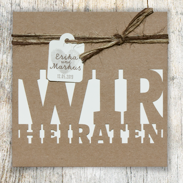 Hochzeitseinladungen Vintage Kraftpapier Lasercut - Ba727.046