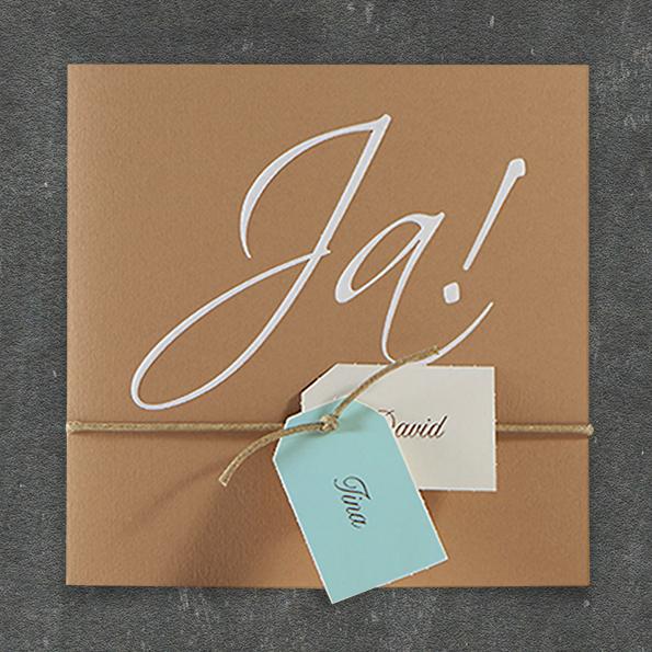Hochzeitseinladungen Ja Vintage Kraftpapier